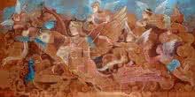 Religious Acrylic Art Painting title Krishna Leela by artist Swapan Das