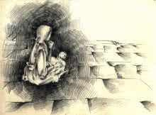 Expressionist Charcoal Art Drawing title '4 Child in sister's Lap' by artist Abhay Gupta