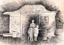 Expressionist Charcoal Art Drawing title 6 Family at hut entrance by artist Abhay Gupta