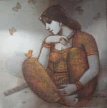 Figurative Acrylic Art Painting title 'Radhika' by artist Subrata Das