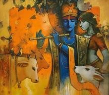 Religious Acrylic Art Painting title 'Tune Of Life 8' by artist Subrata Das
