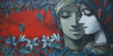 Figurative Mixed-media Art Painting title 'Tune Of Love 5' by artist Subrata Das
