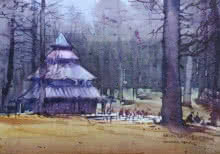 Landscape Watercolor Art Painting title 'Hadimbadevi Temple' by artist Amol Dubhele