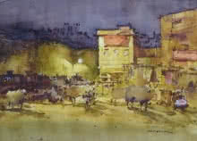 Cityscape Watercolor Art Painting title 'Jaipur Night' by artist Amol Dubhele