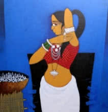 Figurative Acrylic Art Painting title 'Lady With Flower 2' by artist GAJRAJ CHAVAN