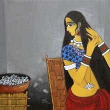 Figurative Acrylic Art Painting title 'Sringar' by artist GAJRAJ CHAVAN