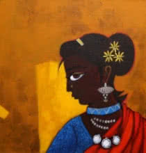 Figurative Acrylic Art Painting title 'Village Girl' by artist GAJRAJ CHAVAN