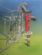 contemporary Acrylic-oil Art Painting title 'Utility' by artist Subhendu Mishra