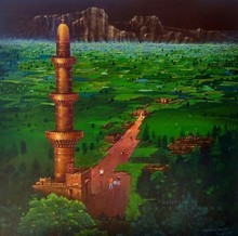 Cityscape Acrylic Art Painting title Devagiri Fort by artist Yogesh Lahane