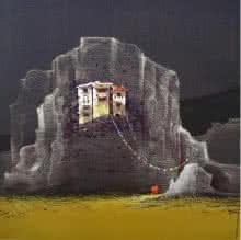 Yogesh Lahane | Acrylic Painting title God Visit on Canvas | Artist Yogesh Lahane Gallery | ArtZolo.com
