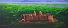 Religious Acrylic Art Painting title Jejuri Temple by artist Yogesh Lahane