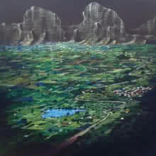 Yogesh Lahane | Acrylic Painting title Top View Of My Village on Canvas | Artist Yogesh Lahane Gallery | ArtZolo.com