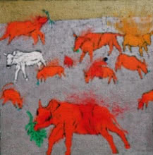 Cattles Of My Village | Painting by artist Kumar Ranjan | acrylic | tarpaulin