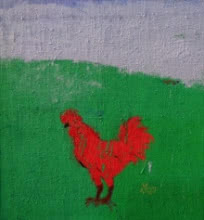 Green Field Blue Sky And A Cock | Painting by artist Kumar Ranjan | acrylic | tarpaulin