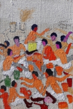 Figurative Acrylic Art Painting title 'Page' by artist Kumar Ranjan