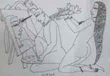 Graphite Paintings | Drawing title Kamasutra 1 on Paper | Artist Krishna Ashok