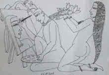 Kamasutra 1 | Drawing by artist Krishna Ashok |  | graphite | Paper