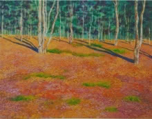 Landscape Acrylic-oil Art Painting title 'The Orange Lanscape' by artist PROTYUSHA MITRA