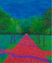 Landscape Acrylic-oil Art Painting title 'The Pink Road' by artist PROTYUSHA MITRA