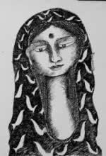 Figurative Pen-ink Art Drawing title 'Drawing Viii' by artist Sambuddha Gupta