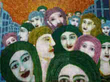 Fantasy Acrylic Art Painting title Face In The Crowd by artist Sambuddha Gupta