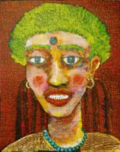 Portrait Acrylic Art Painting title 'Portrait Of A Lady Iii' by artist Sambuddha Gupta