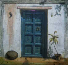 Cityscape Acrylic Art Painting title 'Blue Door' by artist Gopal Pardeshi