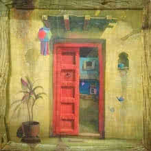 Still-life Acrylic Art Painting title Red Door by artist Gopal Pardeshi