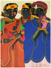 Figurative Acrylic Art Painting title 'Untitled 19' by artist Thota Vaikuntam
