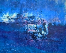 Abstract Acrylic Art Painting title 'Brilliant Blue 4' by artist Dnyaneshwar Dhavale