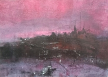 Abstract Acrylic Art Painting title 'Pink Evening 01' by artist Dnyaneshwar Dhavale