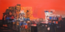 Abstract Acrylic Art Painting title 'Palace' by artist Dnyaneshwar Dhavale