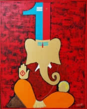 Mixed Media Painting titled '5 pradhv 2' by artist Pankaj Sachdeva on Canvas