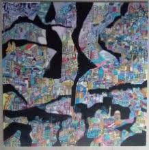 Impressionist Acrylic Art Painting title A Day in City by artist Shilpa Kulshrestha