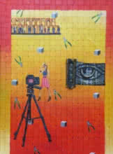 contemporary Acrylic-oil Art Painting title Golden Eye by artist Riddhima Sharraf