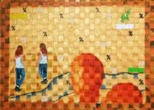 Green Ribbon 2 | Painting by artist Riddhima Sharraf | acrylic-oil | Canvas