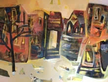 Tapas Ghosal | Acrylic Painting title Varanasi 5 on Canvas | Artist Tapas Ghosal Gallery | ArtZolo.com