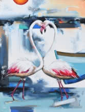 Animals Acrylic Art Painting title 'Flamingo 1' by artist Vishwajeet Naik