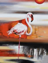 Animals Acrylic Art Painting title 'Flamingo 4' by artist Vishwajeet Naik
