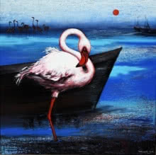 Animals Acrylic Art Painting title 'Flamingo 6' by artist Vishwajeet Naik