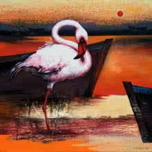 Flamingo 7 | Painting by artist Vishwajeet Naik | acrylic | Canvas