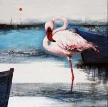 Animals Acrylic Art Painting title 'Flamingo 8' by artist Vishwajeet Naik