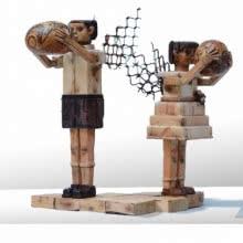 Fantasy 2 | Sculpture by artist Indira Ghosh | wood and metal scrap