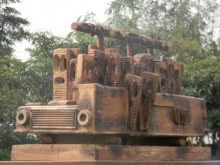 Wood Sculpture titled 'For A Place' by artist Indira Ghosh
