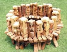 Gatgering | Sculpture by artist Indira Ghosh | Wood