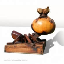 Gourd and Wood Sculpture titled 'Will As Catalyst' by artist Indira Ghosh