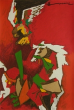 Animals Serigraphs Art Painting title 'Horse (Appropriation)' by artist M. F. Husain