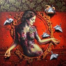 Mirror Lady 1 | Painting by artist Prashanta Nayak | acrylic | Canvas