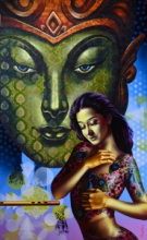 Figurative Acrylic Art Painting title 'In Love' by artist Prashanta Nayak