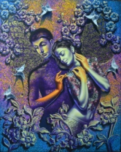 Figurative Acrylic Art Painting title 'In Love 1' by artist Prashanta Nayak